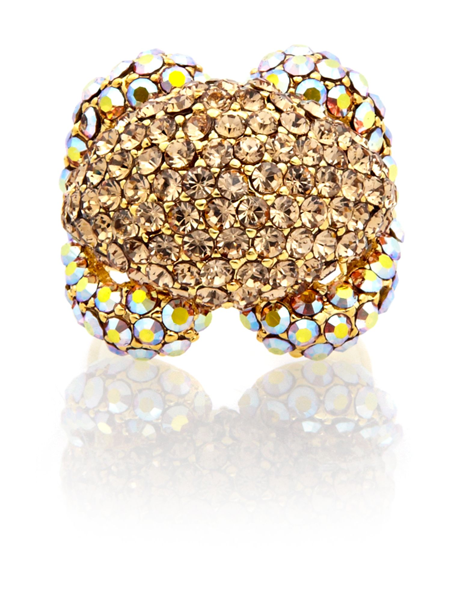 Gemini Gold cluster ring with swarovski crystals