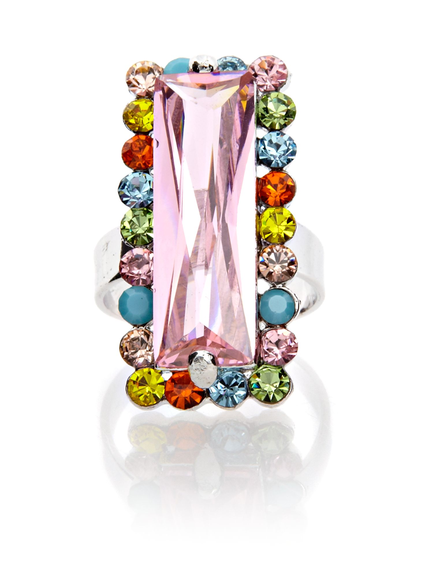 Gemini Multi rectangular haute couture swarovski ring