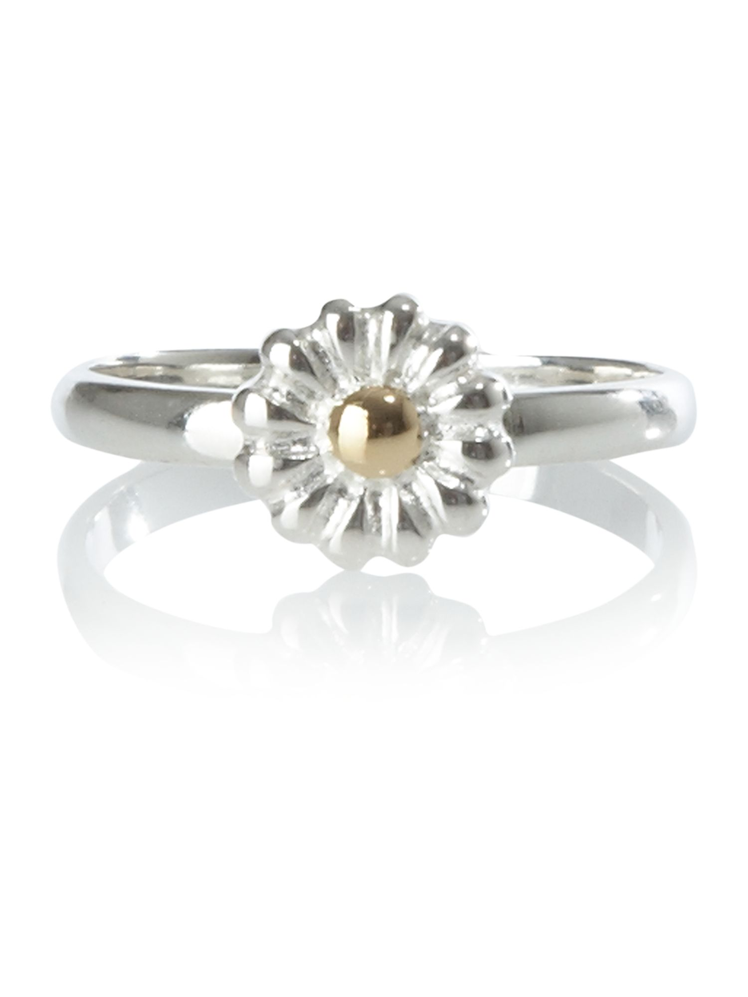 Dew Sterling Silver Gold Plate Daisy Chain Ring, Gold