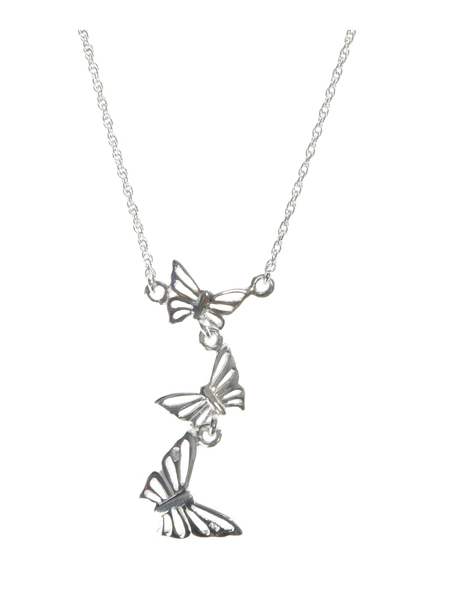 Dew Sterling Silver Womens Multi Butterfly Necklace