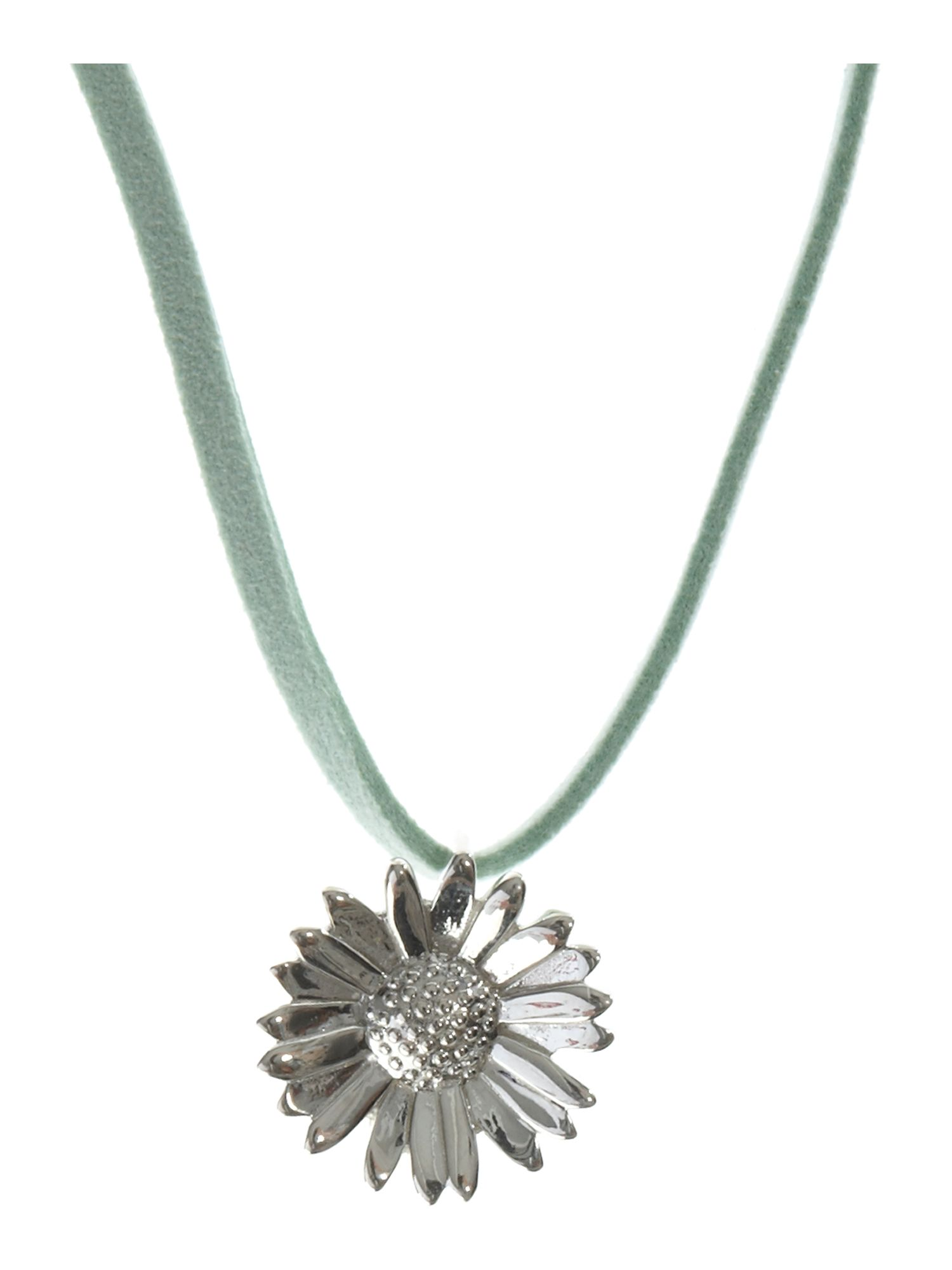 Dew Sterling Silver Ladies Daisy Necklace on Mint Gre