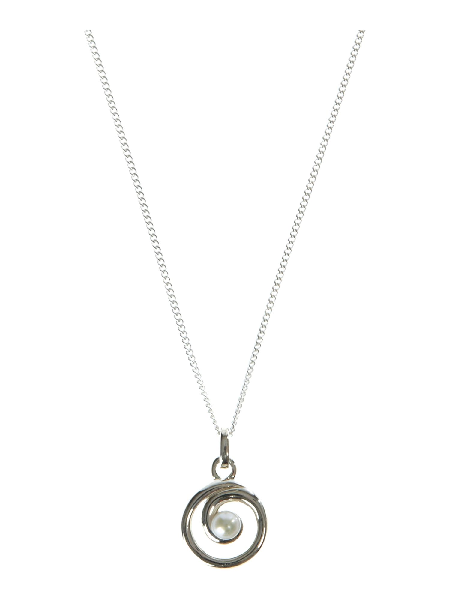 Dew Sterling Silver Freshwater Pearl Spiral Necklace