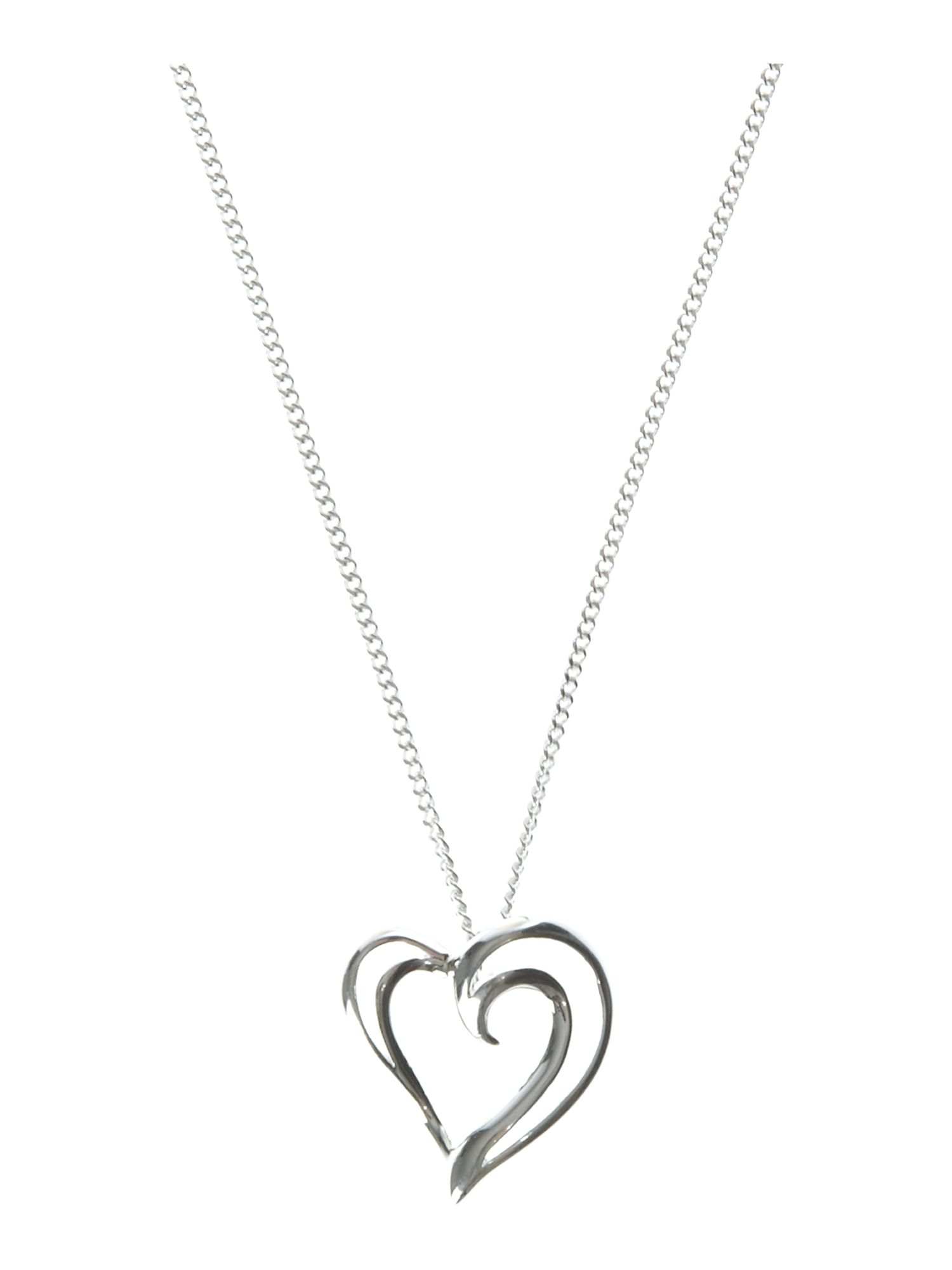 Dew Sterling Silver Strands Heart Necklace