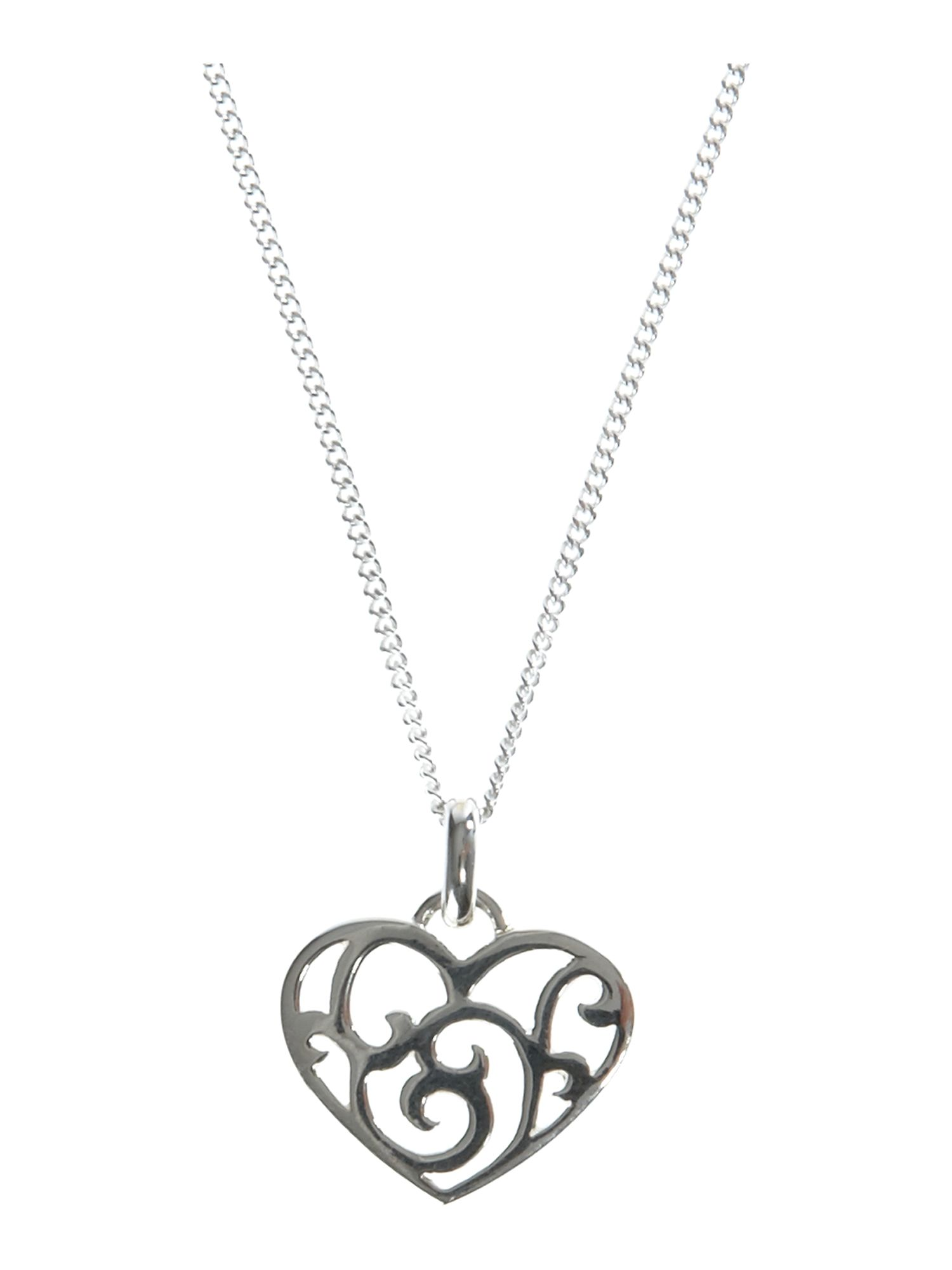 Dew Sterling Silver Swirly Cut Out Heart Necklace