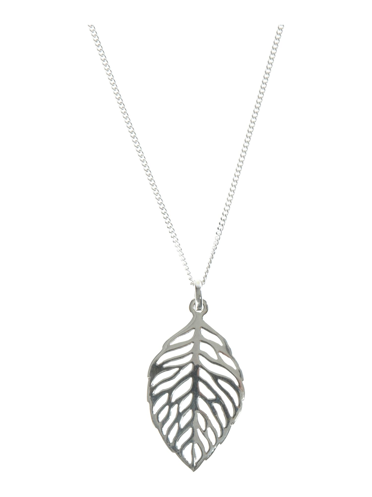Dew Sterling Silver Necklace with Small Open Leaf