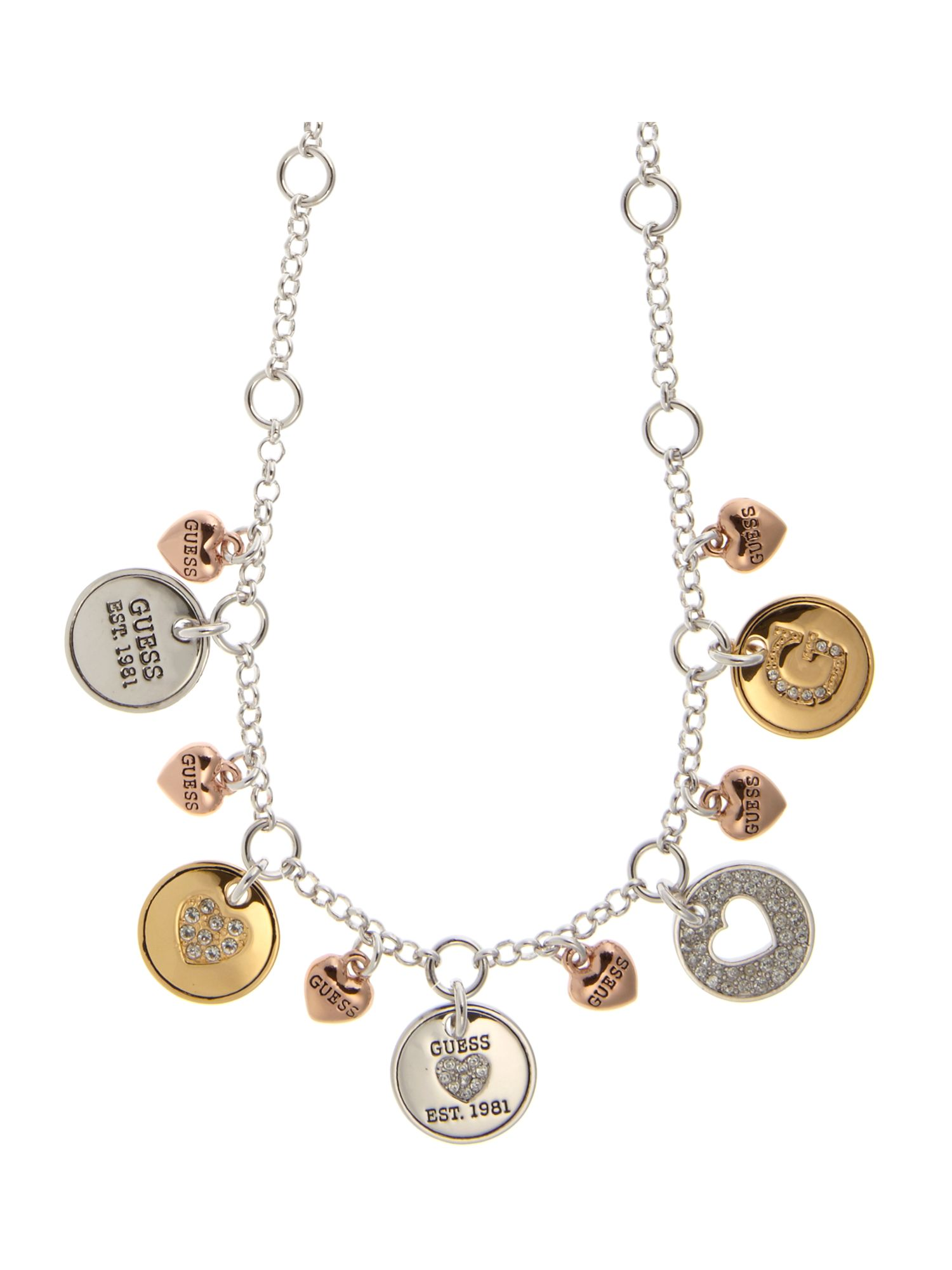 Guess Multi coin charm Necklace