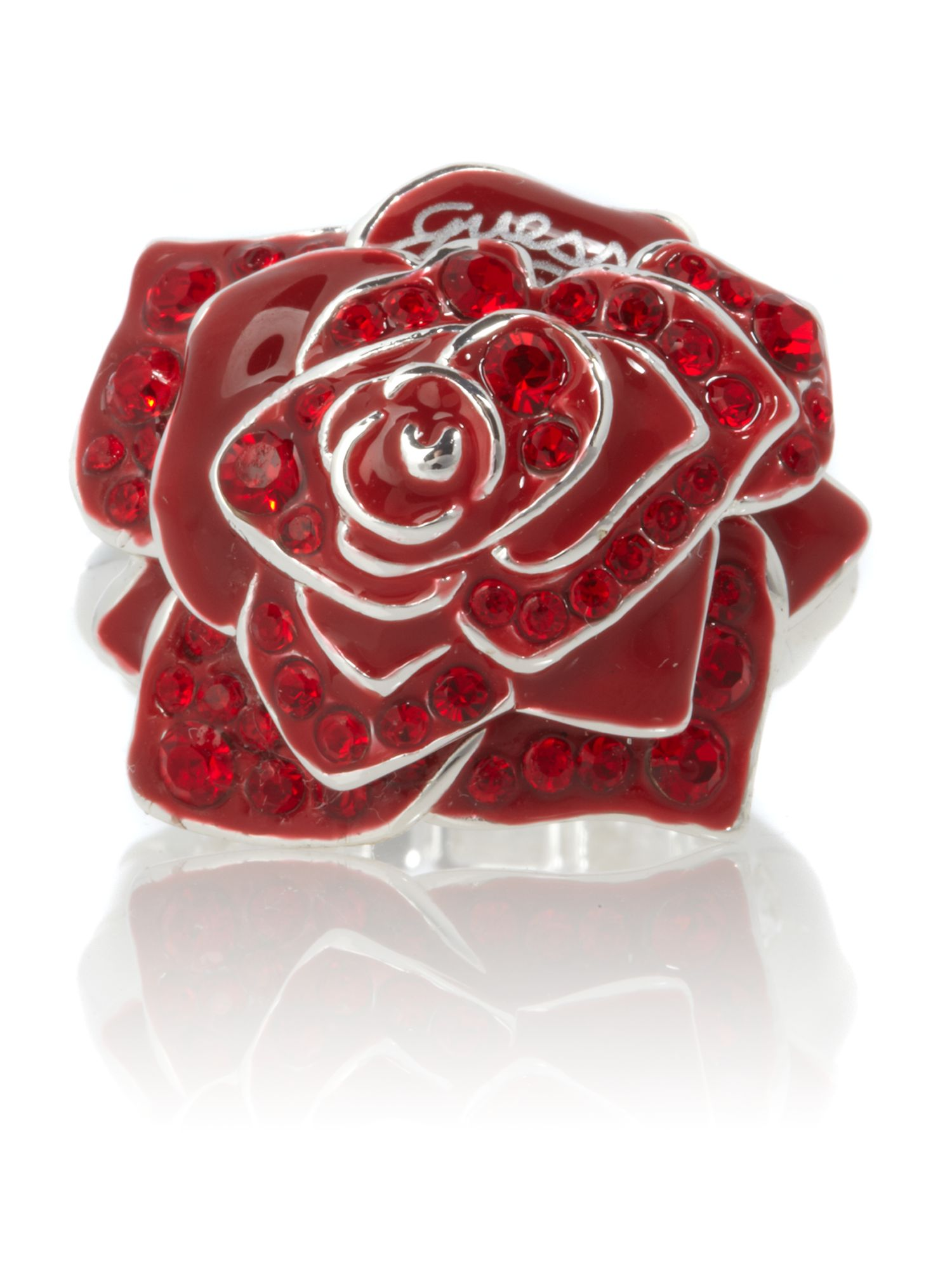 Guess Red Rose Ring, Silver