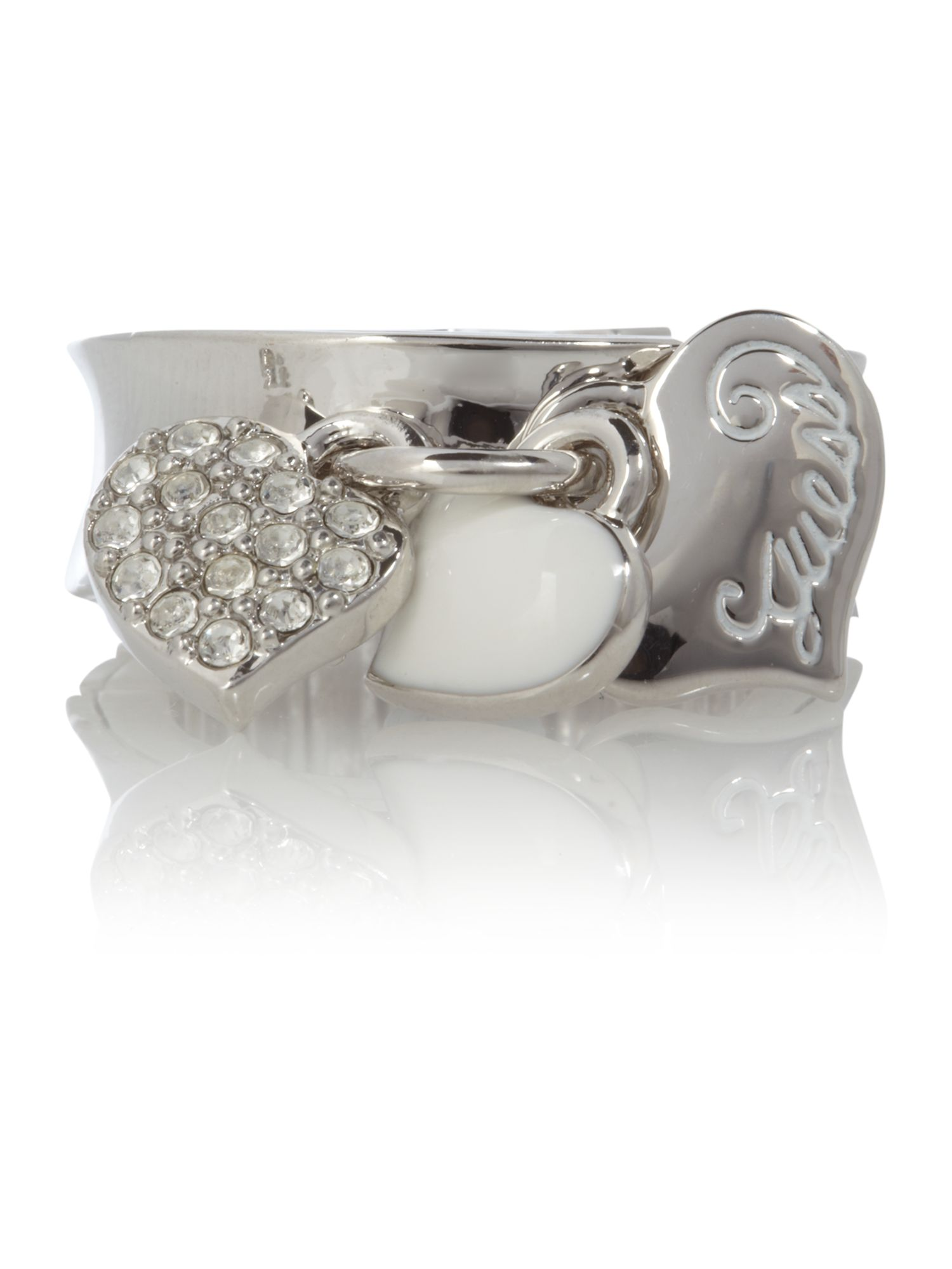 Guess Multi Heart Stretch Ring, Silver