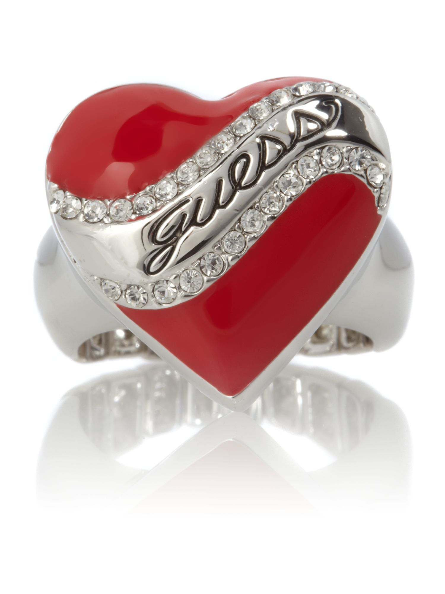 Guess Juicy Red Stretch Ring, Silver