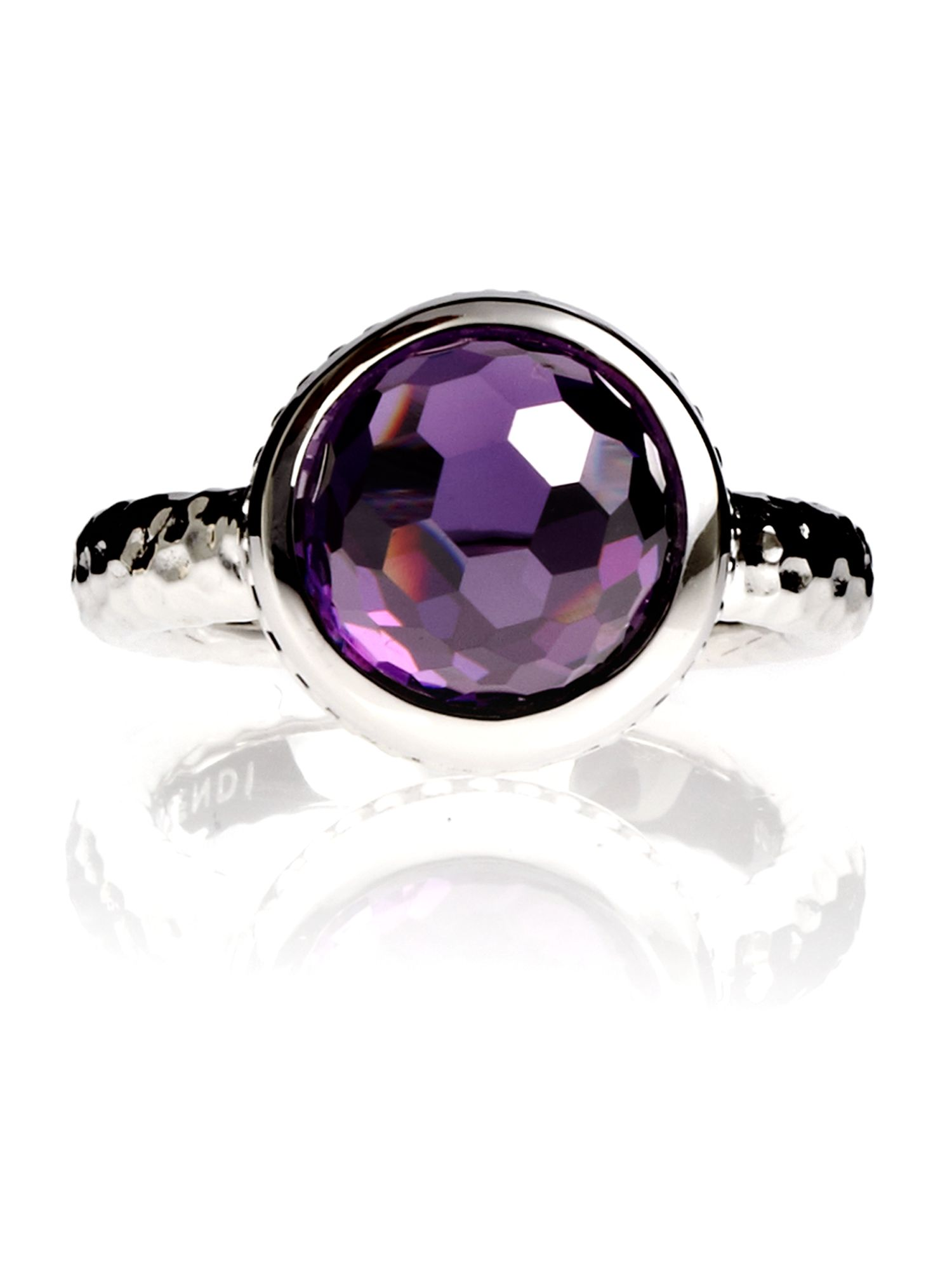 Azendi Dome Facets Purple Cocktail Ring, Purple