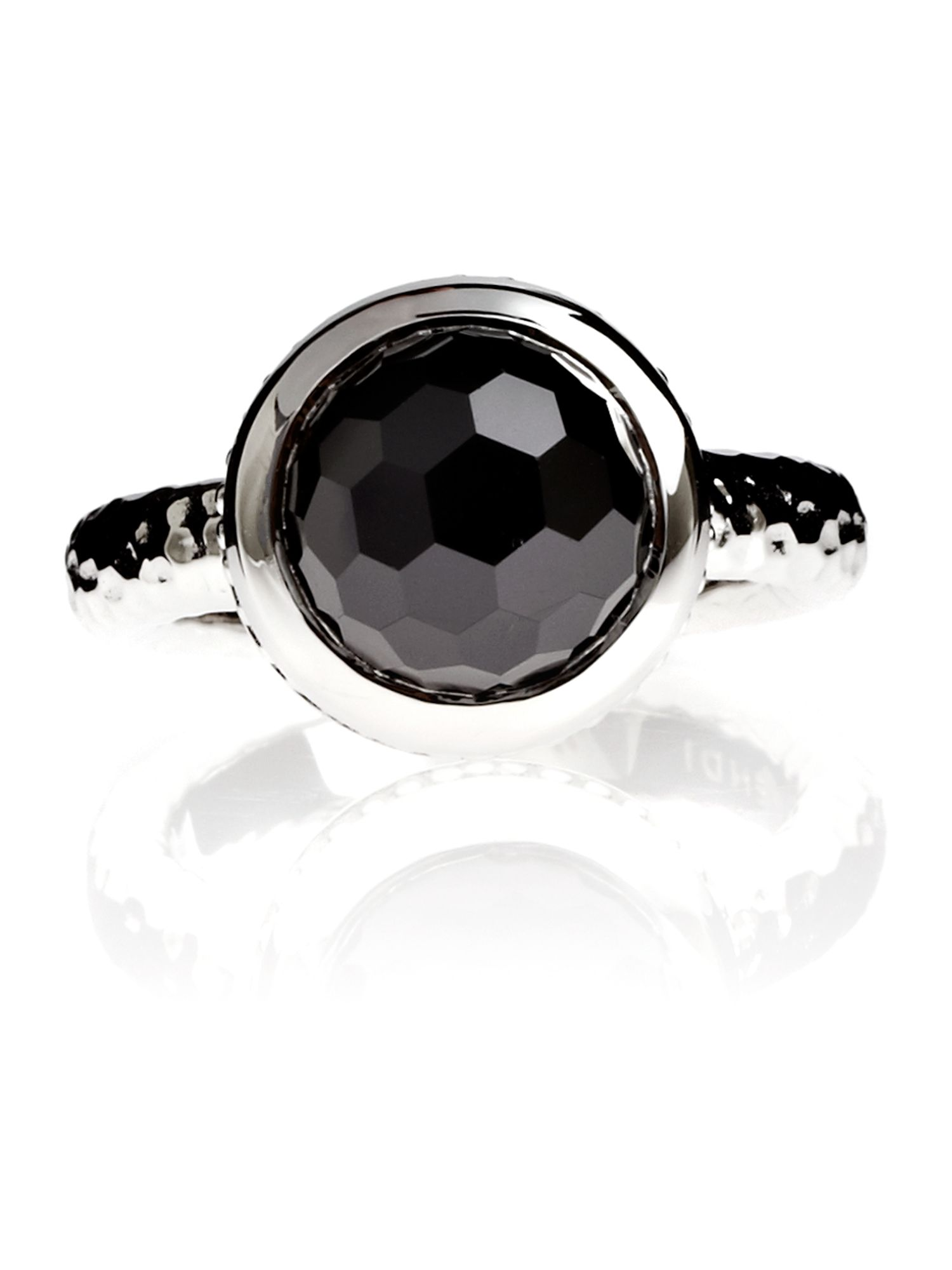 Azendi Dome Facets Black Cocktail Ring, Black