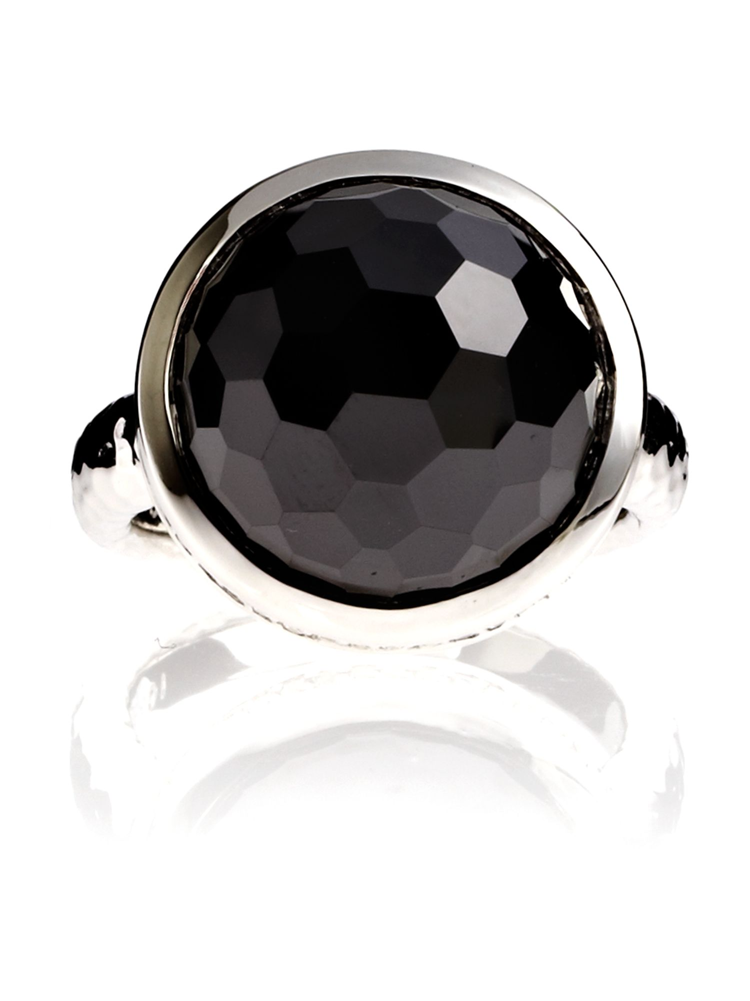 Azendi Dome Facets Large Black Cocktail Ring, Black