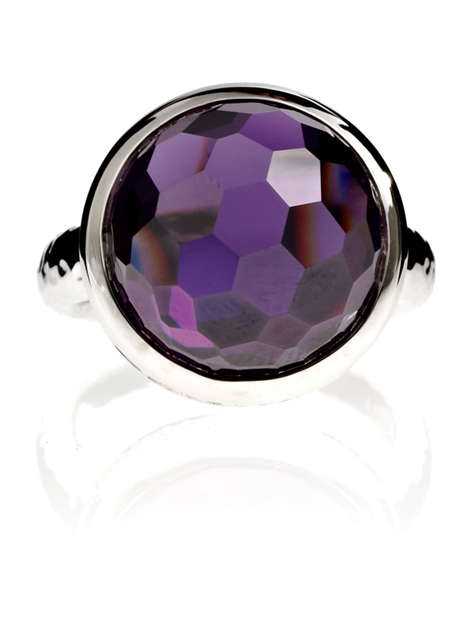 Azendi Dome Facets Large Purple Cocktail Ring, Purple