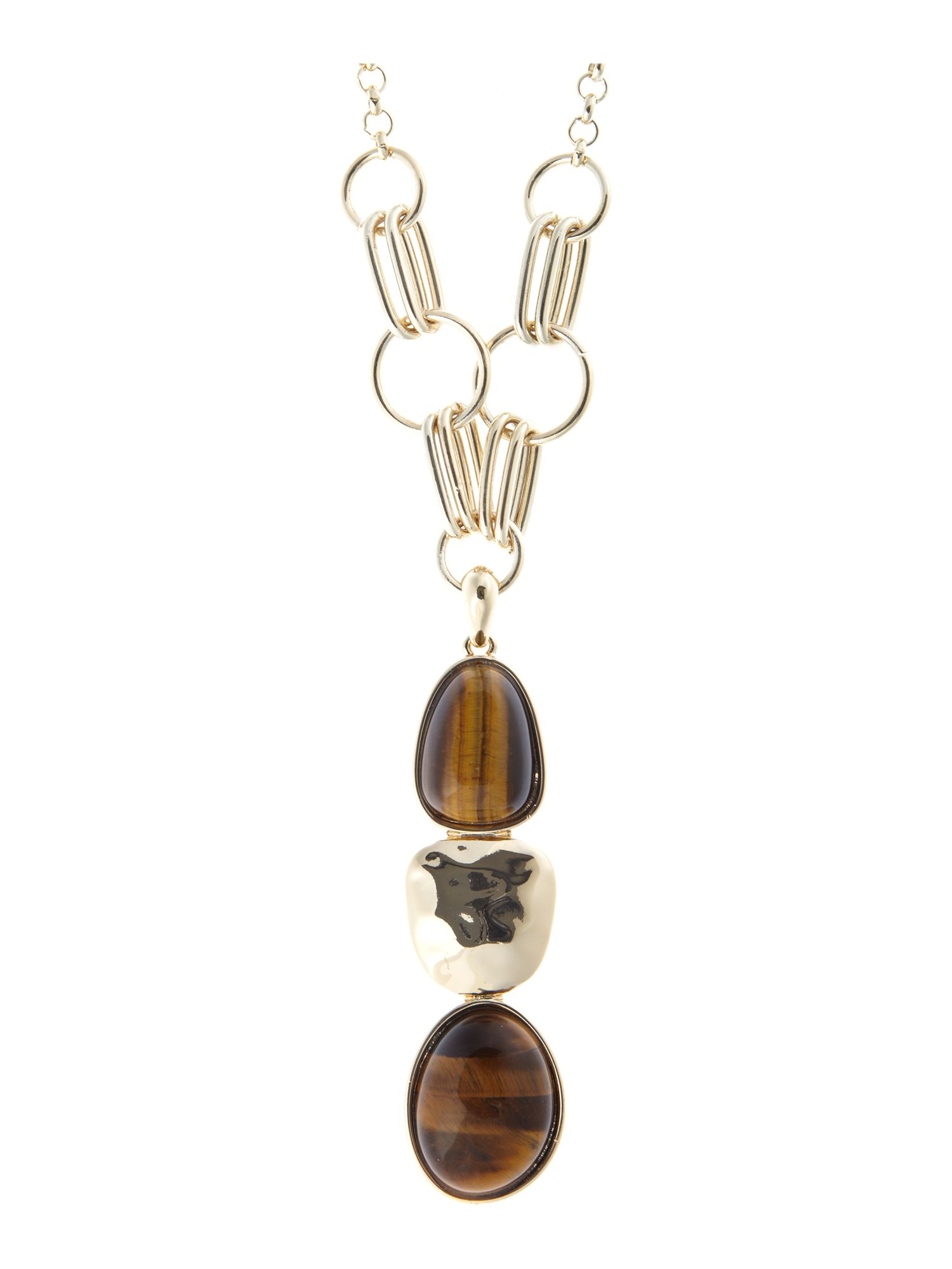 Ziba Tiger Eye Stone Drop Necklace
