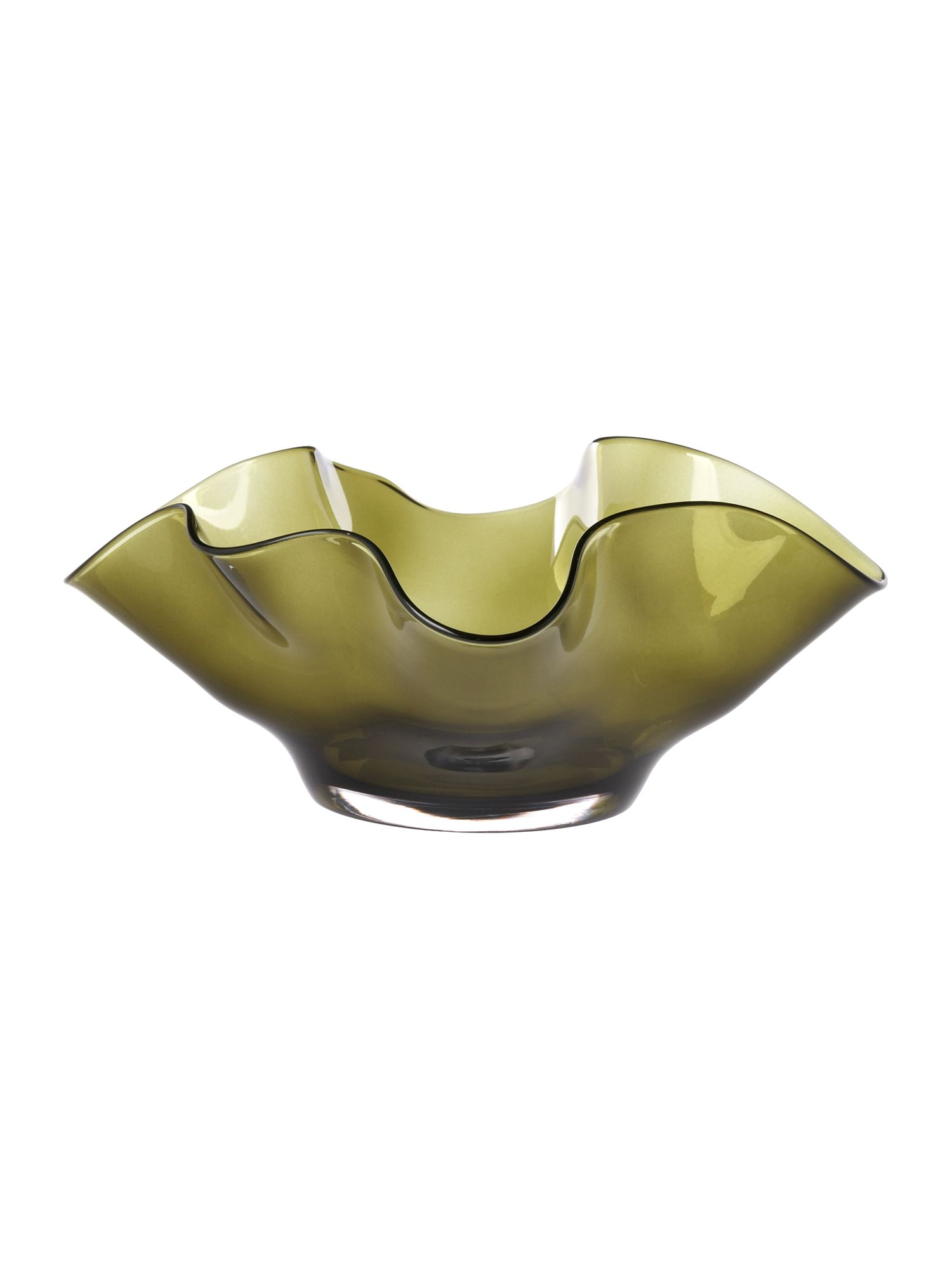 Hankerchief olive glass decorative bowl