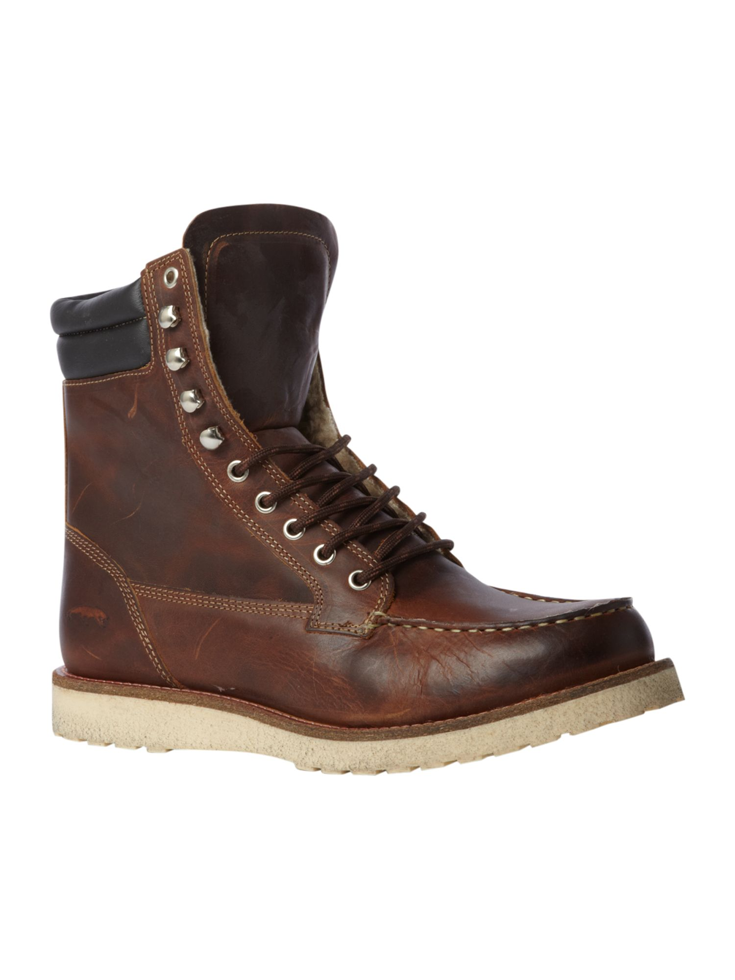 Jack & Jones Jack & Jones Shearling fern logger leather boots