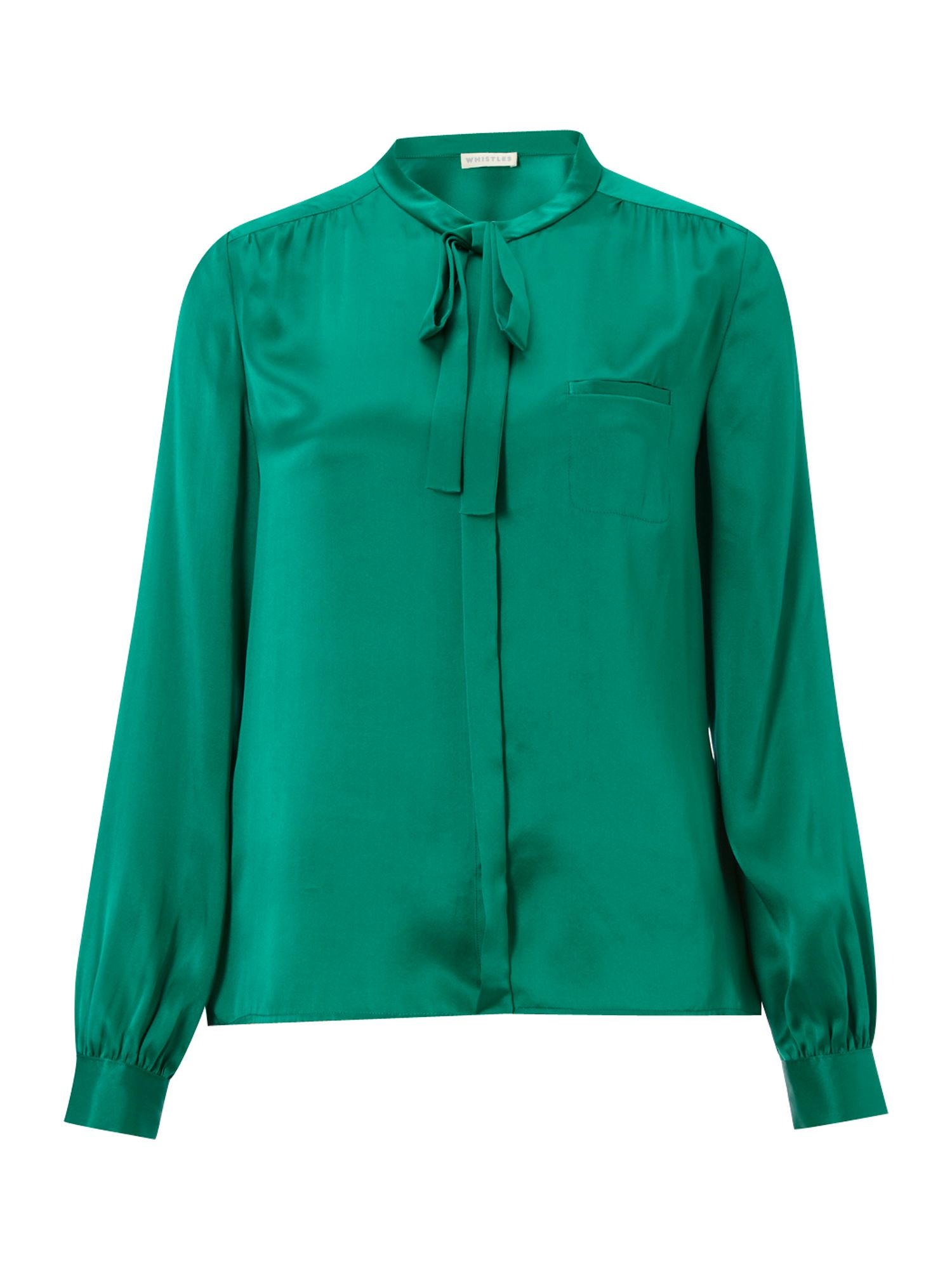Whistles Womens Whistles Lulu tie neck blouse, Green product image