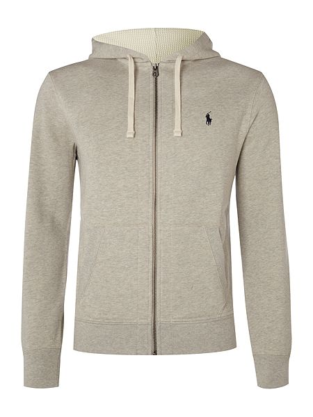 polo ralph lauren zip through cotton blend hoody light grey house of fraser. Black Bedroom Furniture Sets. Home Design Ideas