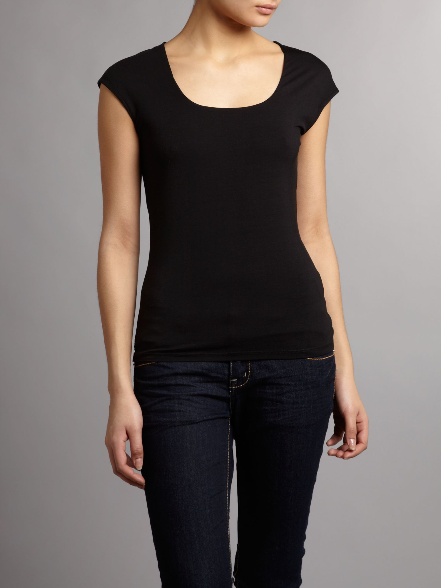 Square neck jersey top