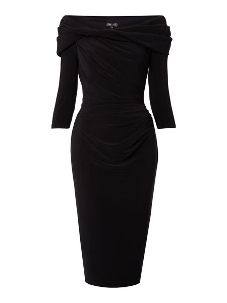 Pied a Terre Long sleeve slinky knot jersey dress