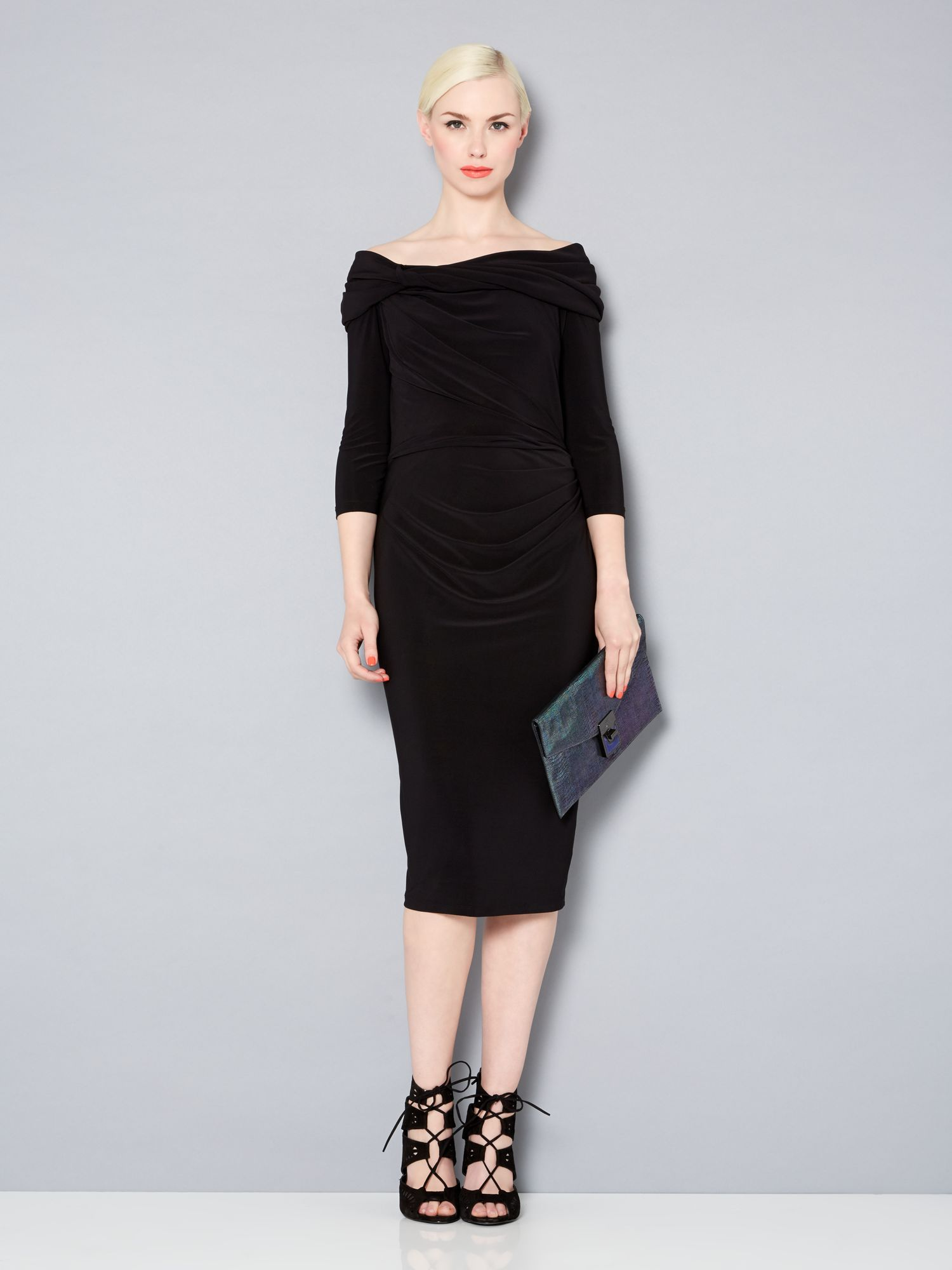Long sleeve slinky knot jersey dress