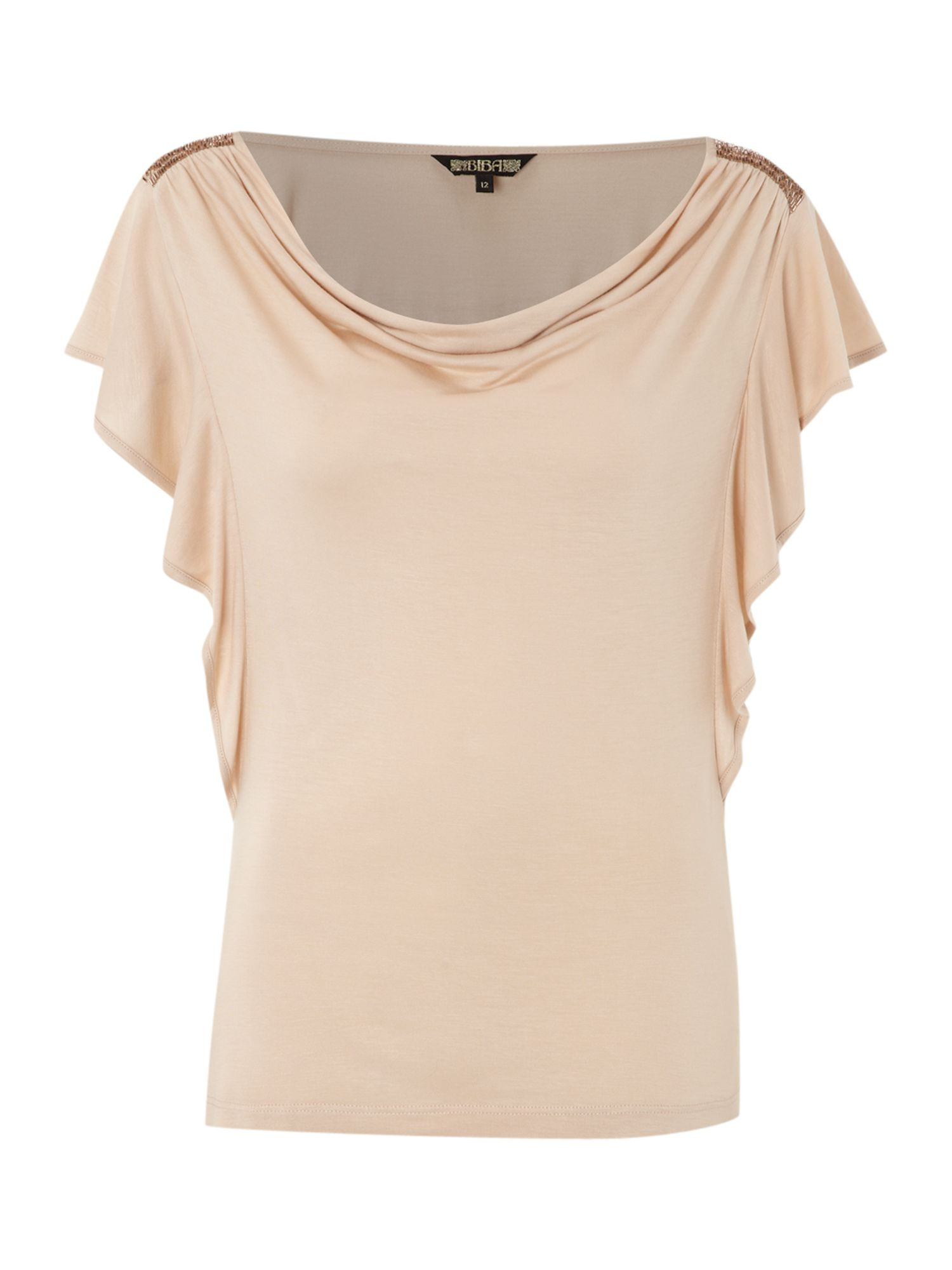 Biba Womens Biba Cowl front beaded t-shirt, Nude product image
