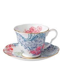 Butterfly bloom teacup and saucer blue,pink
