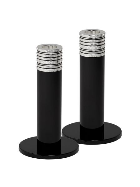 Wedgwood Vera Wang with love noir candlestick pair