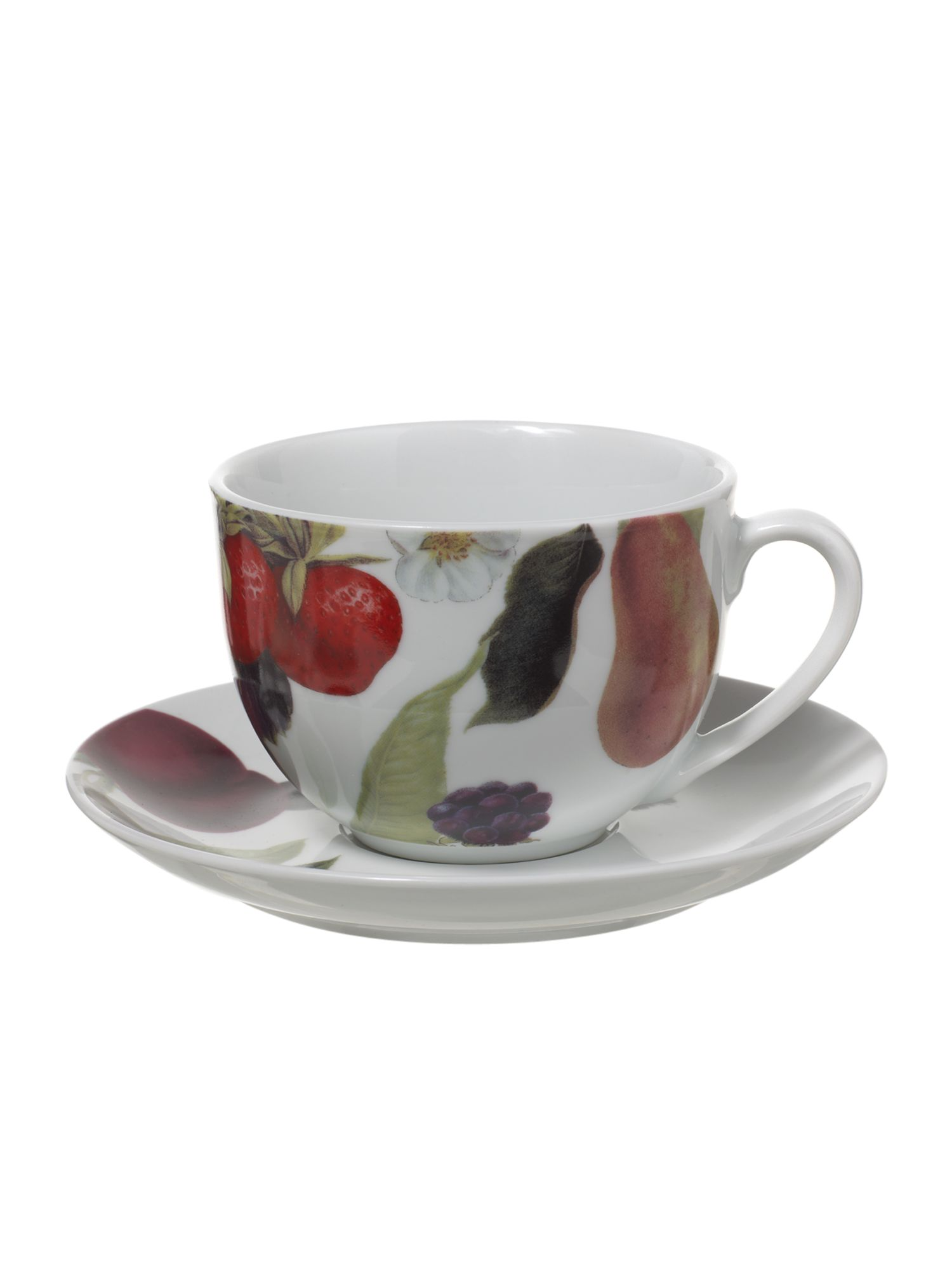 Botanical fruits teacup and saucer
