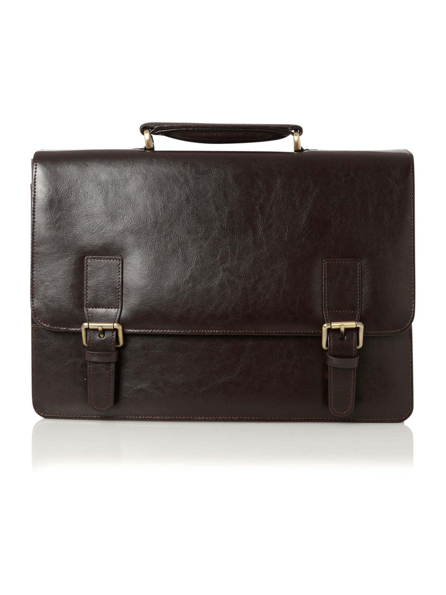 Linea brown 2 gusset briefcase