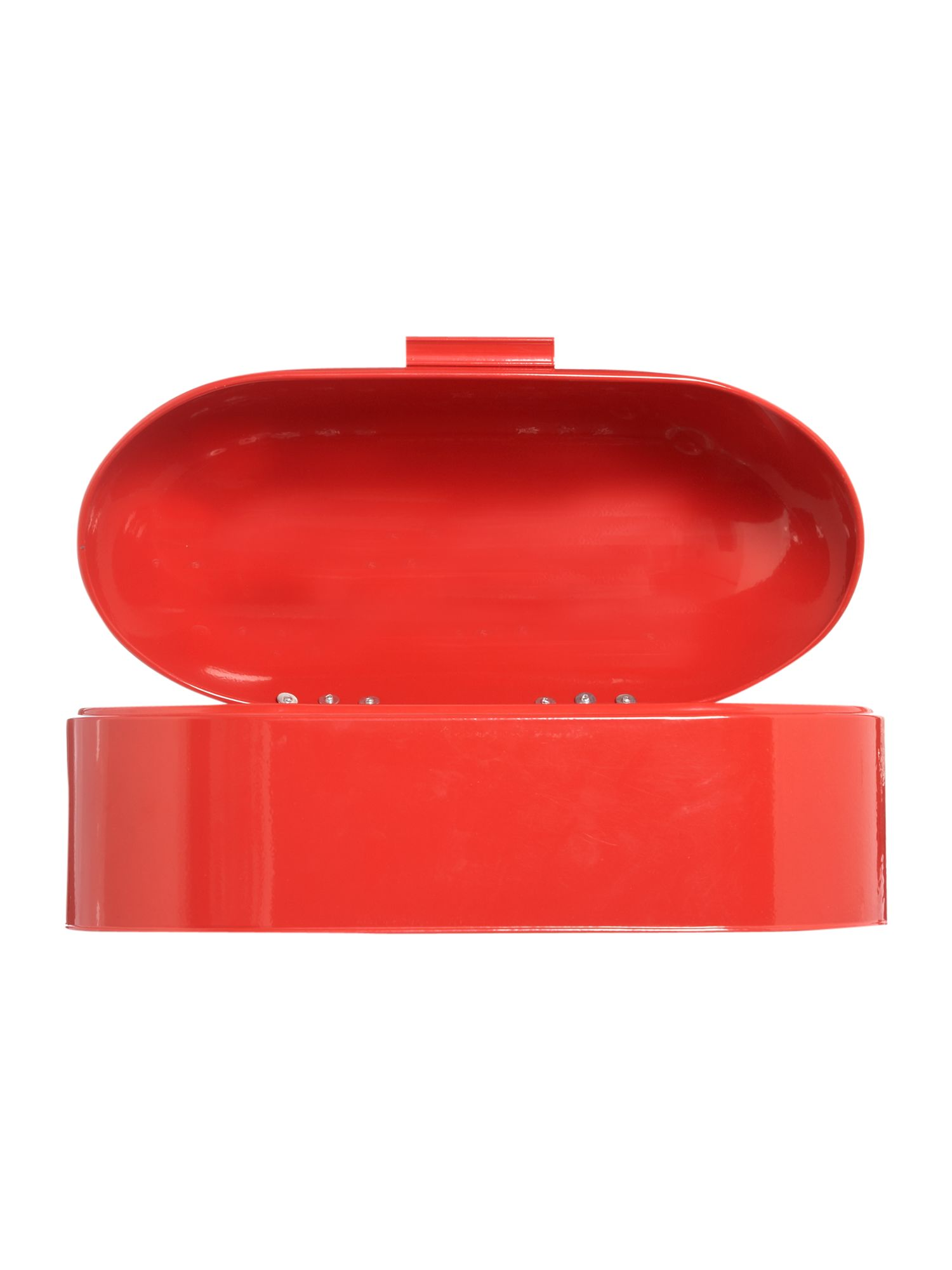 Bright red bread bin