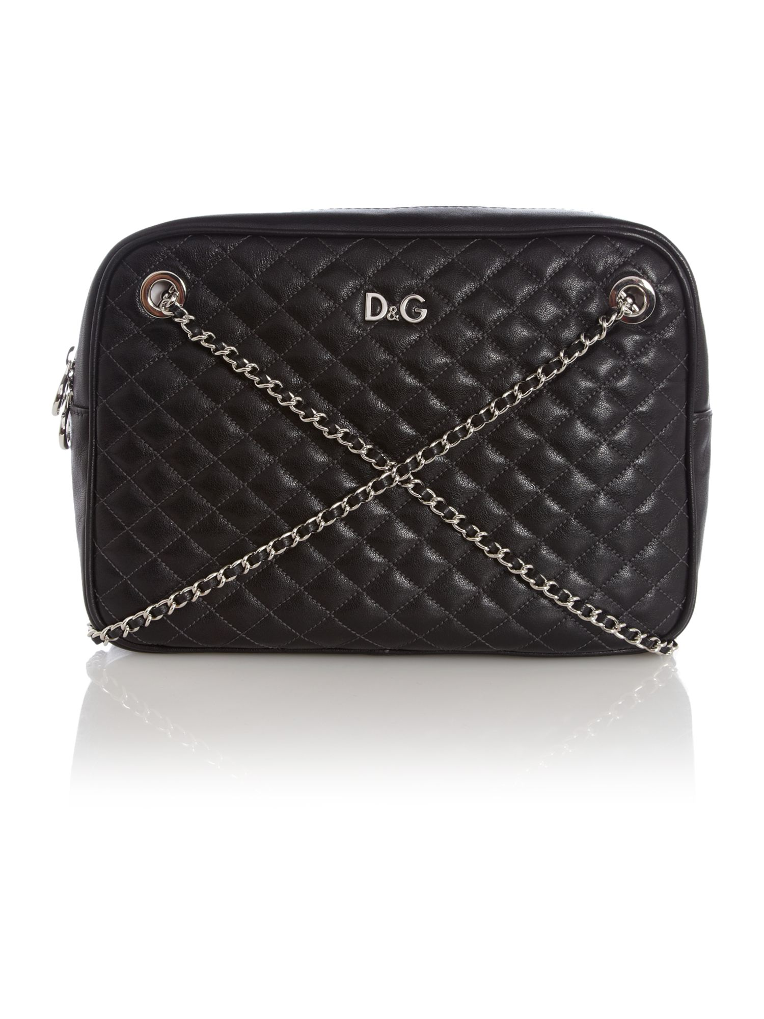 Black Lily Glam Quilted Zip Top Shoulder Bag By D&G 61