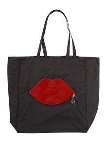 Red Large foldaway lips shoulder bag