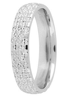 Goldsmiths Ladies 9ct Gold Full Band Sparkle Cut Wedding Rin, Silver