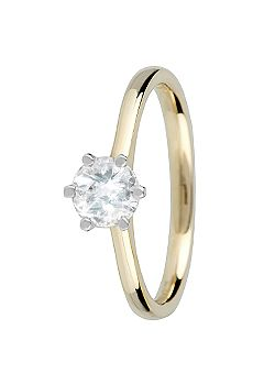 Canadian Ice Canadian Ice 18ct Gold 0.50ct 6 Claw Diamond Ring, Silver