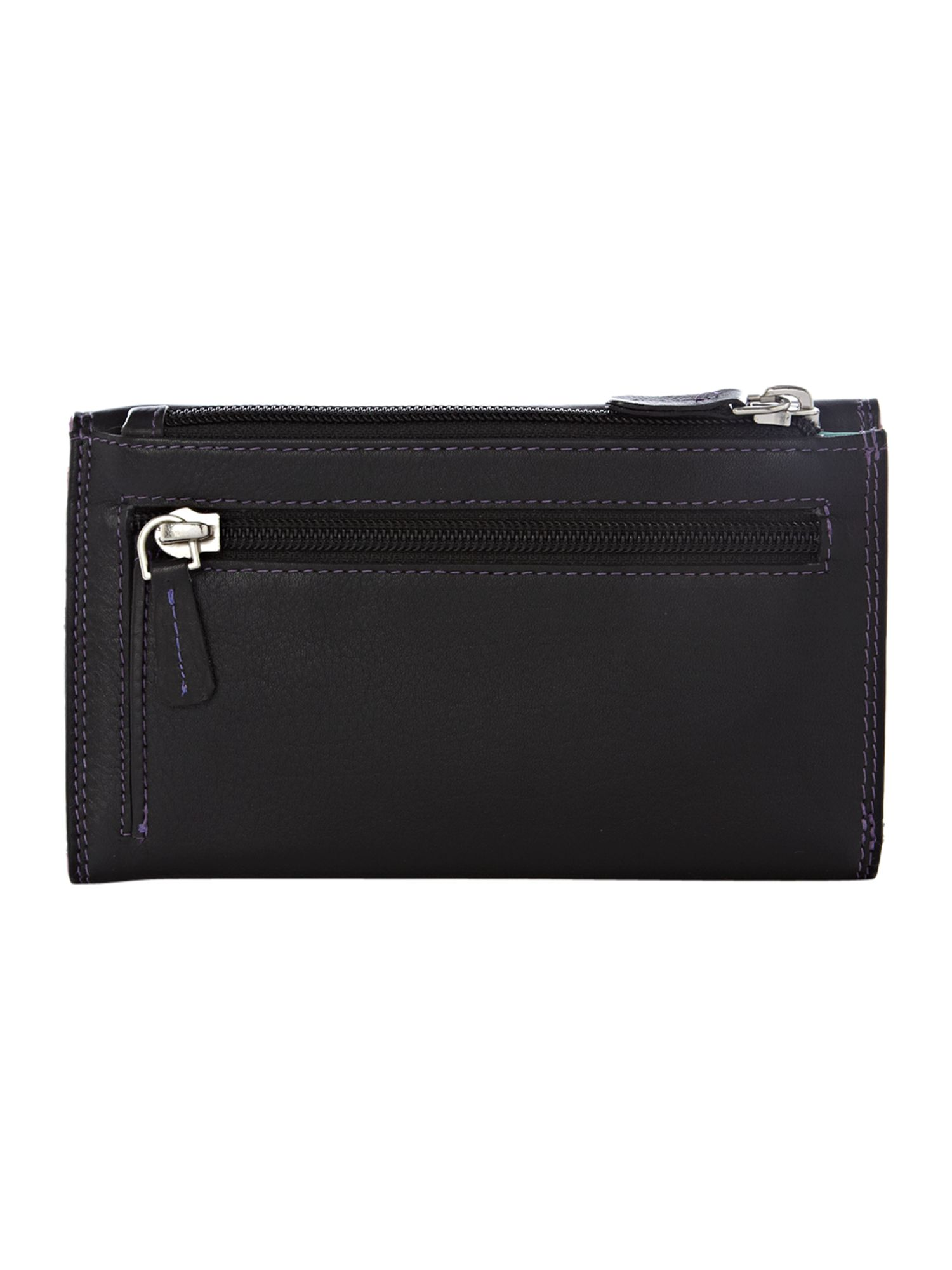 Black large card slot flapover purse
