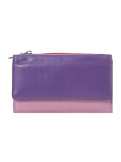 Multi coloured large card slot flapover purse