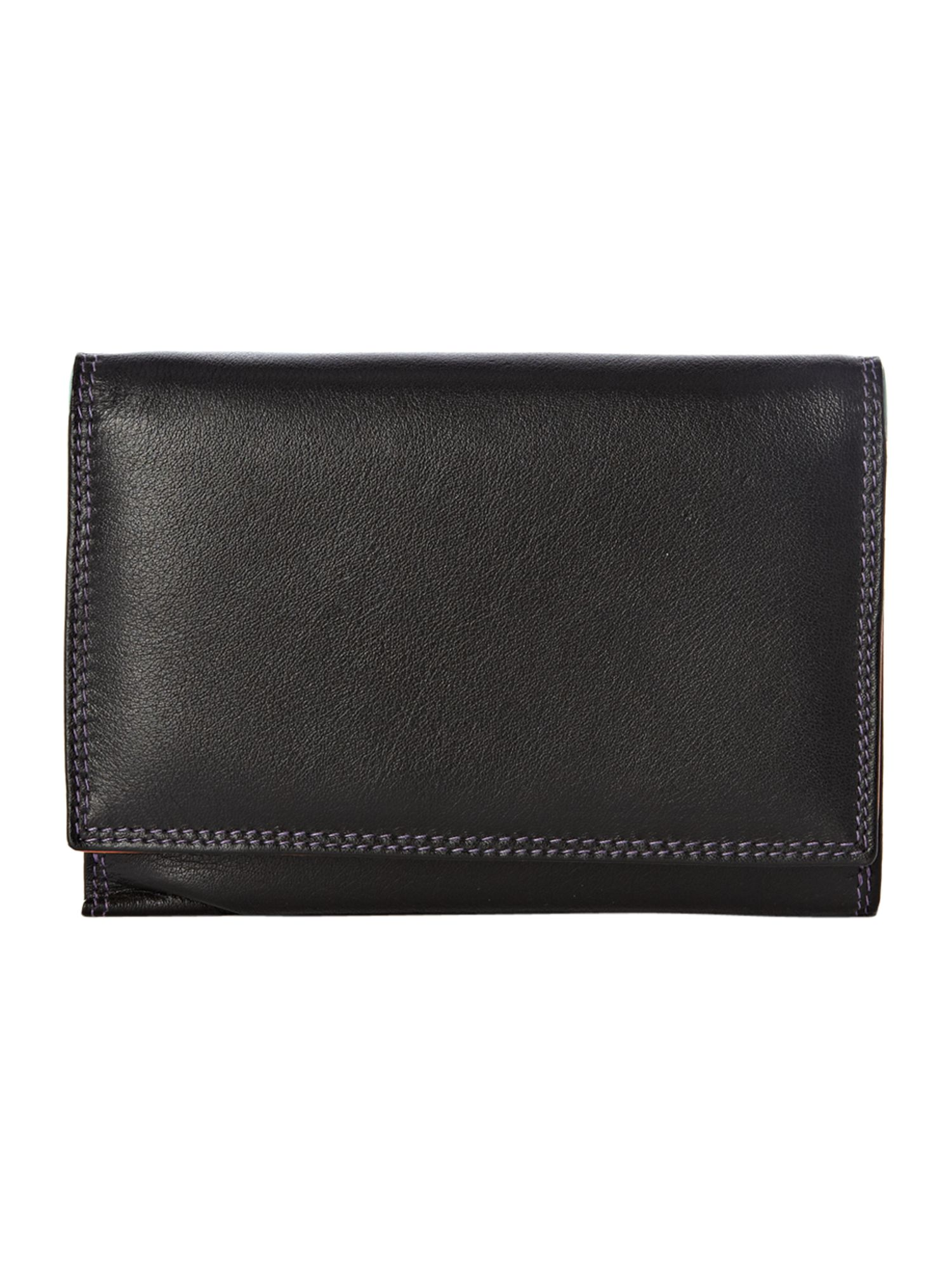 Black Medium Double Flapover Purse
