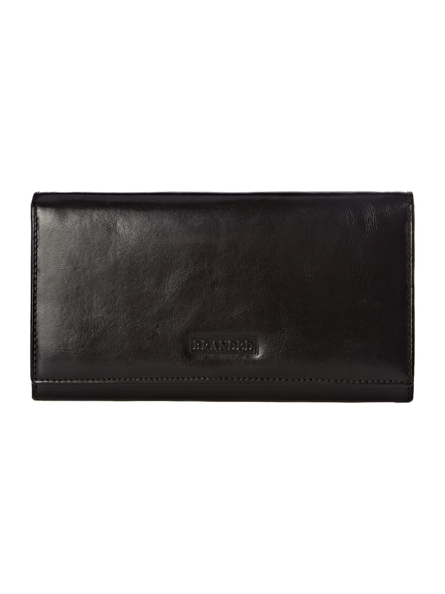 Black hardware detail flapover continental purse