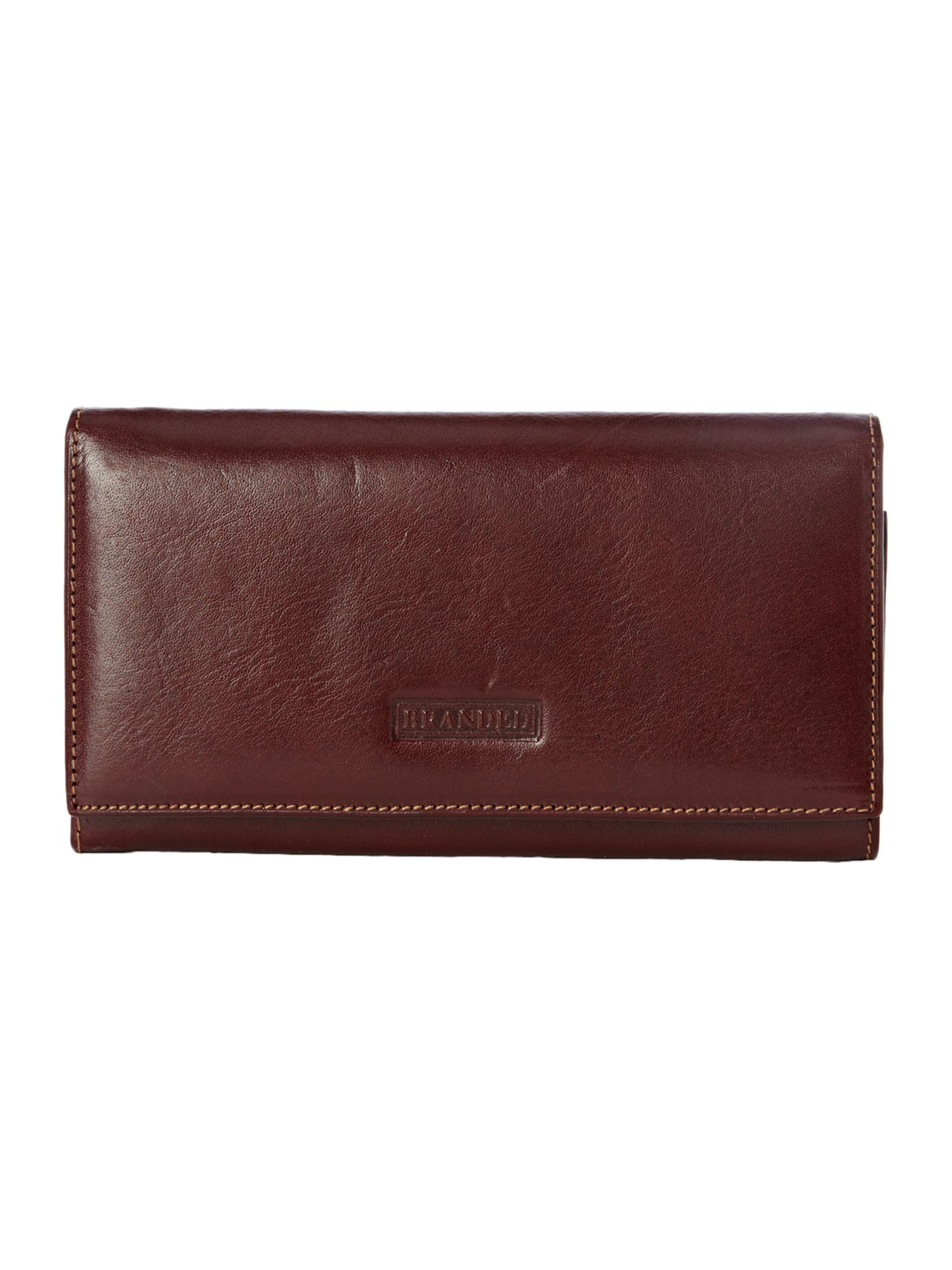 Tan hardware detail flapover continental purse