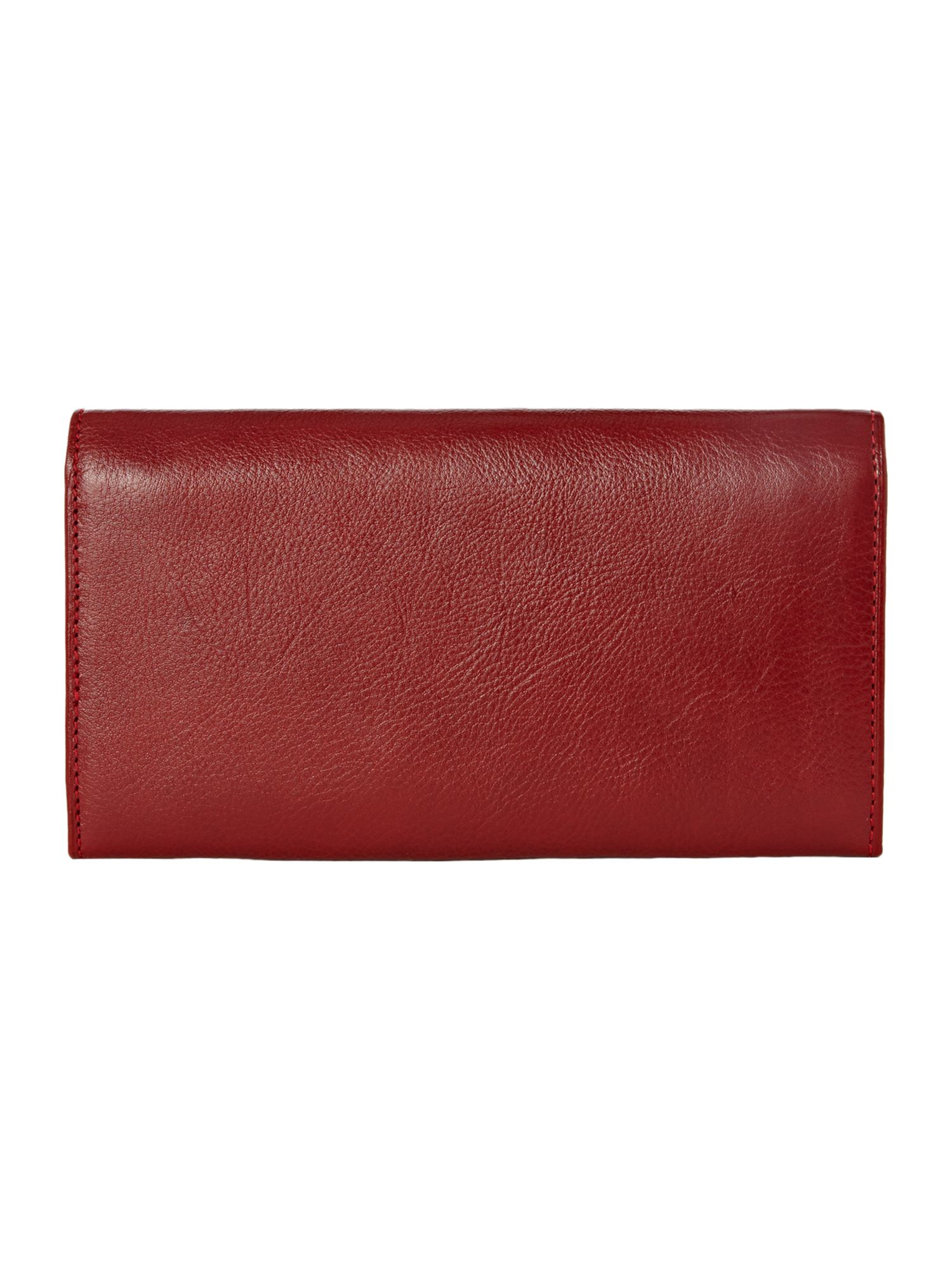 Red hardware detail flapover continental purse