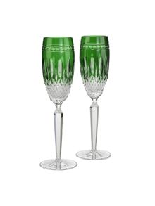 Waterford Clarendon emerald flute set of 2