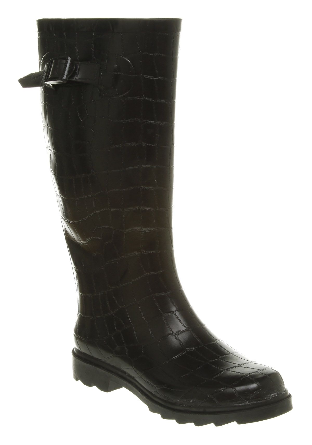 Women's Office Croc Print Welly 2, Black