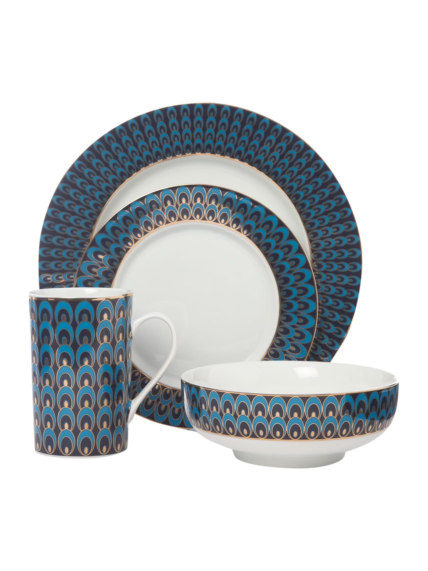 Peacock 16 piece dinner set