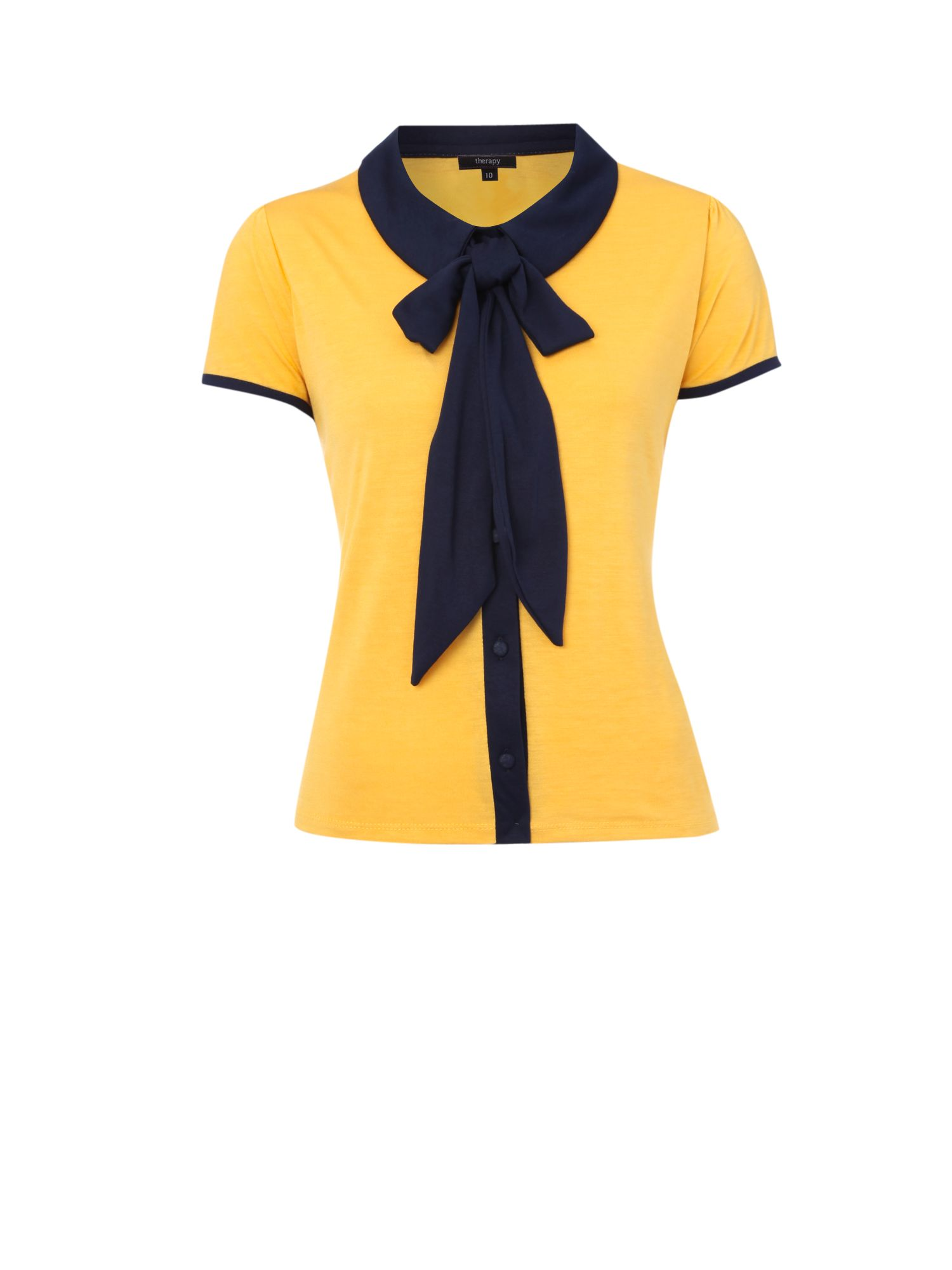 Womens Therapy Bow jersey blouse, Yellow