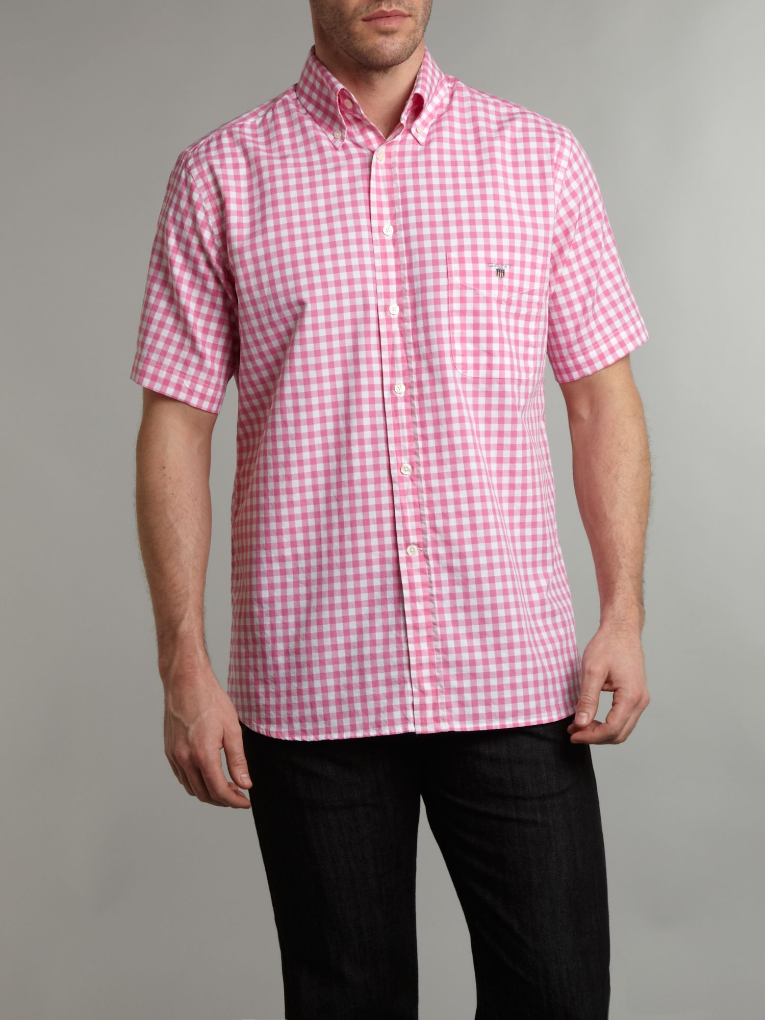 Short Sleeve oxford gingham shirt
