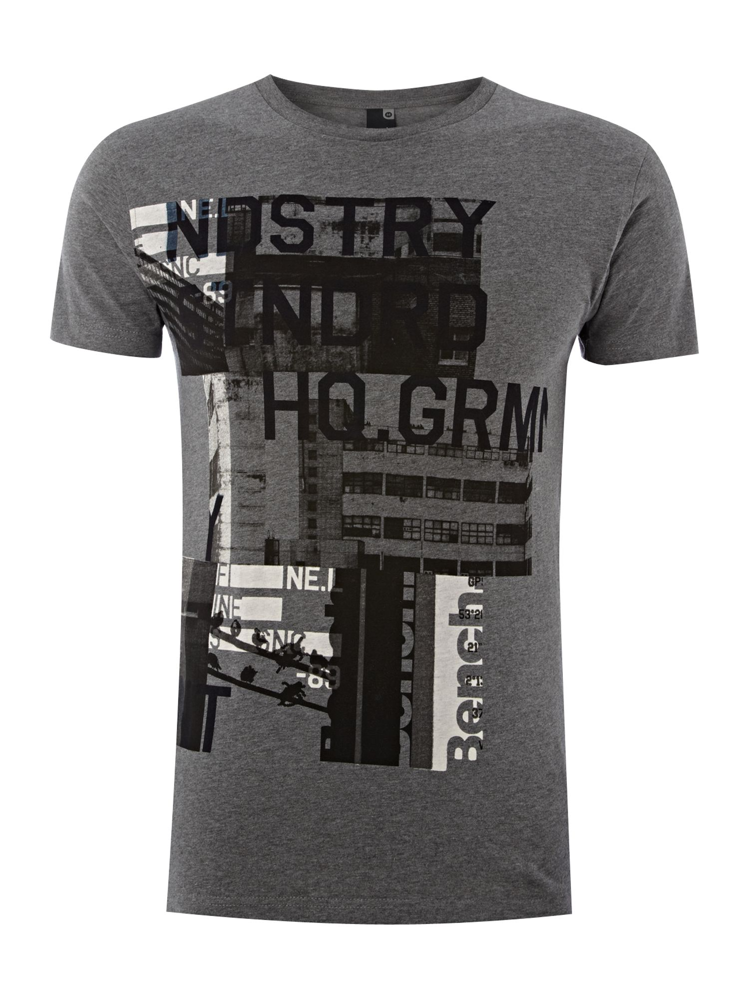 Mens Bench Printed T-shirt, Charcoal Marl