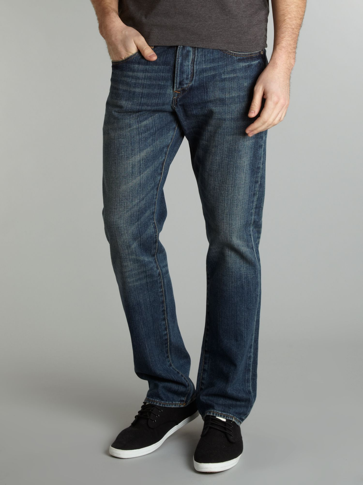 Regular straight fit dark denim jeans