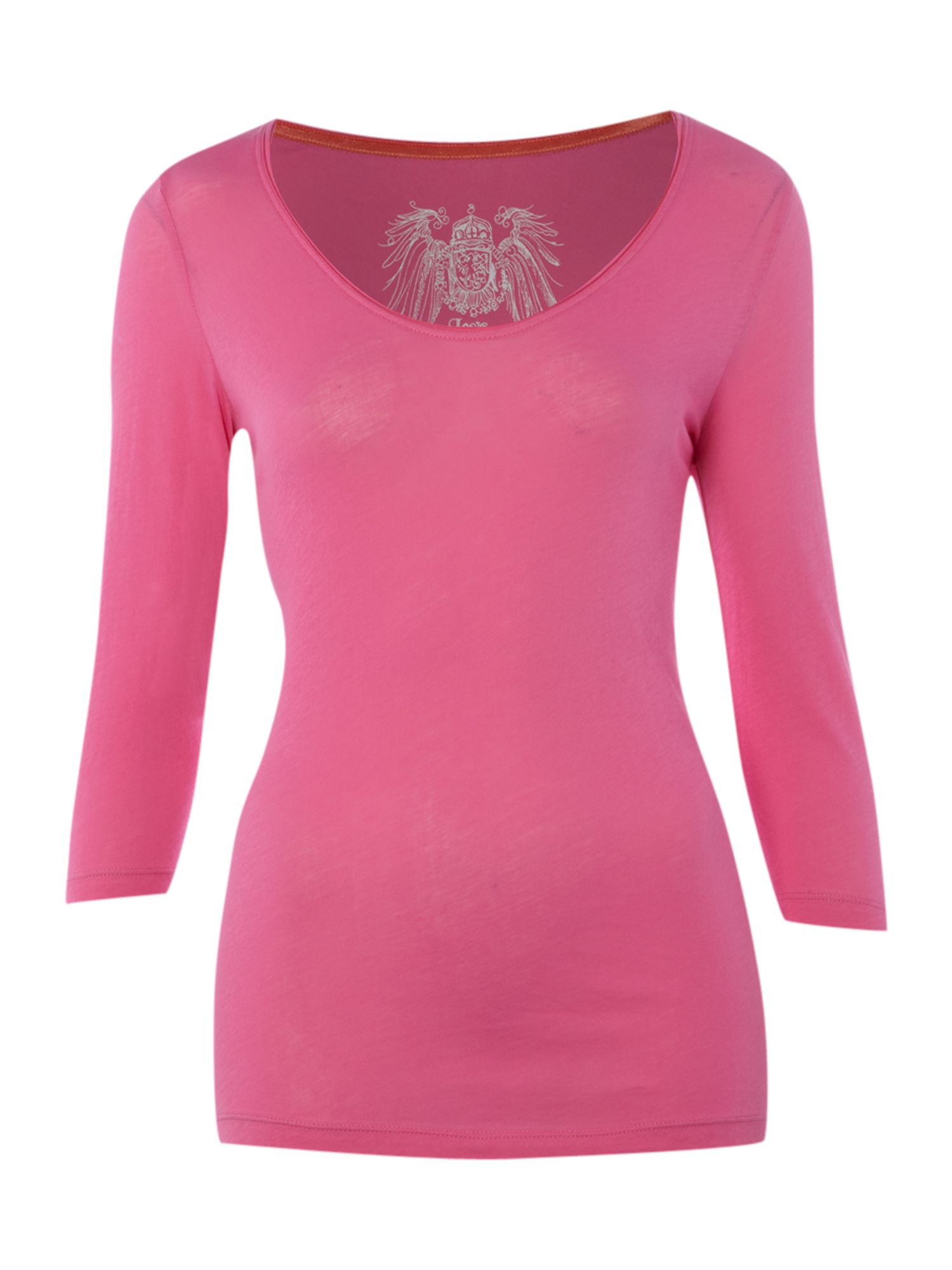 Oui Womens Oui 3/4 sleeve pink t-shirt, Pink product image