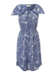 Linea Weekend Bird print dress with cape detail